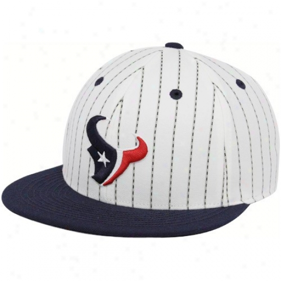 Houston Texans Hat : Reebok Houton Texans White-navy Blue Pinstripe Pro Shape Plain Bill Fitted Hat