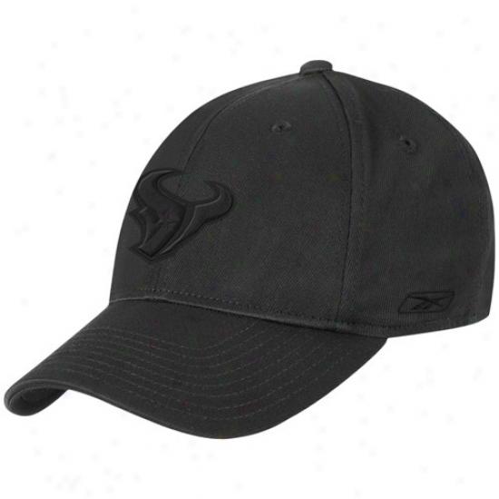 Houston Texans Hats : Reebok Houston Tezans Black Tonal Logo Flex Fit Hats
