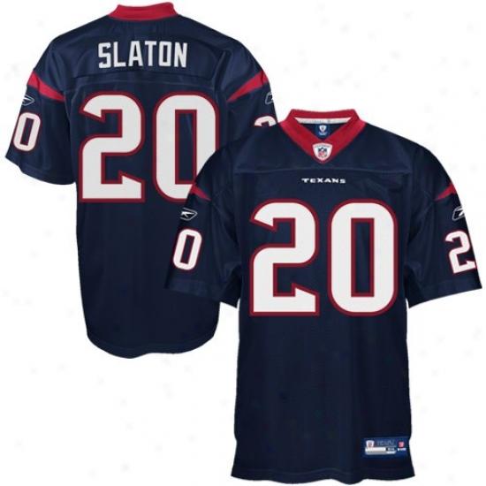 Houston Texans Jersey : Ree6ok Steve Slaton Houstoj Texans Authentic Jersey - Navy Blue