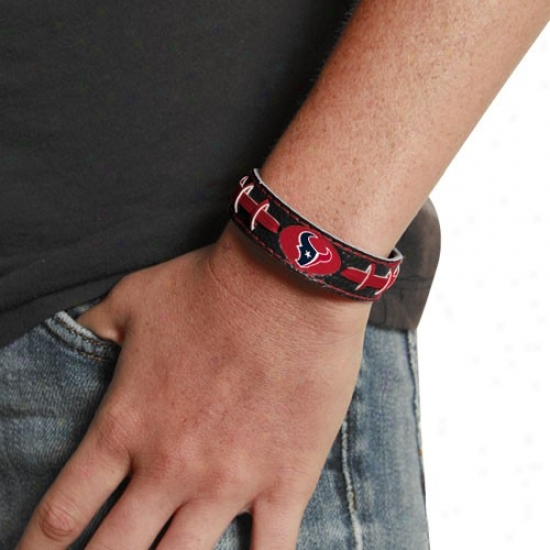 Houston Texans Ladies Black Leather Football Bracelet