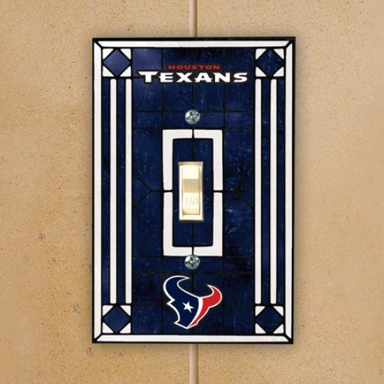 Houston Texans Navy Blue Art-glass Switch Plate Cover