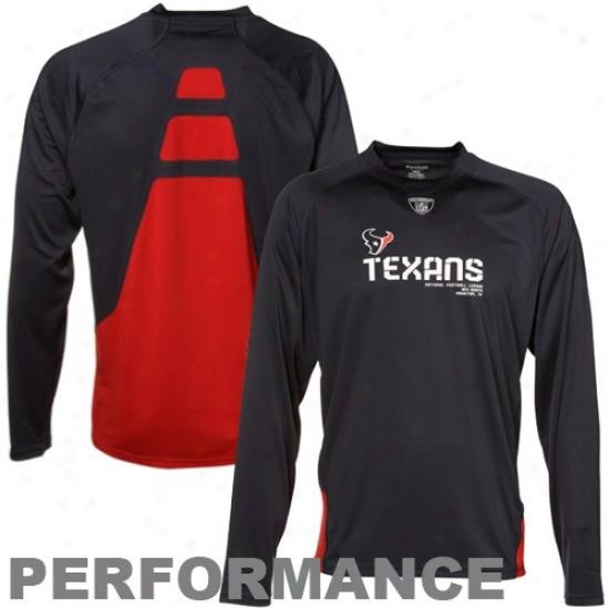 Houston Texans Shirts : Reebok Houston Texand Ships of war Blue Conflict Sideline Accomplishment Long Sleeve Shirts