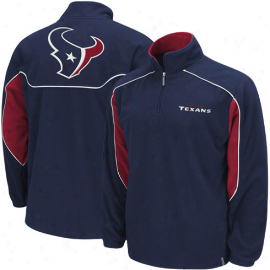 Houston Texans Sweat Shirts : Reebok Houston Texans Navy Blue Final Score1 /4 Zip Pullover Sweat Shirts Jacket
