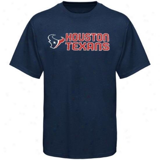 Houston Texans Tshirt : Reebok Houston Texans Youth Navy Blue Summer Stack Tshirt