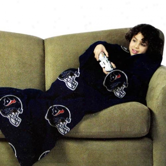 Houston Texans Youth Navy Blue Team Helmet Calico Unisex Comfy Throw