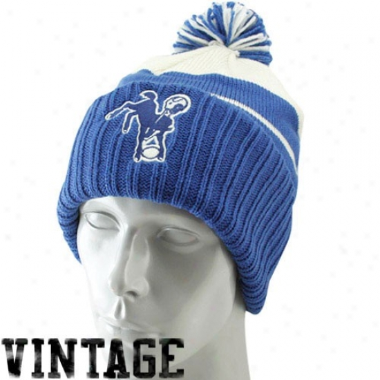 Indianapolis Colt Gear: Reebok Indianapolis Colt Royal Blue-white Vintage Rib-knit Beanie W/pom