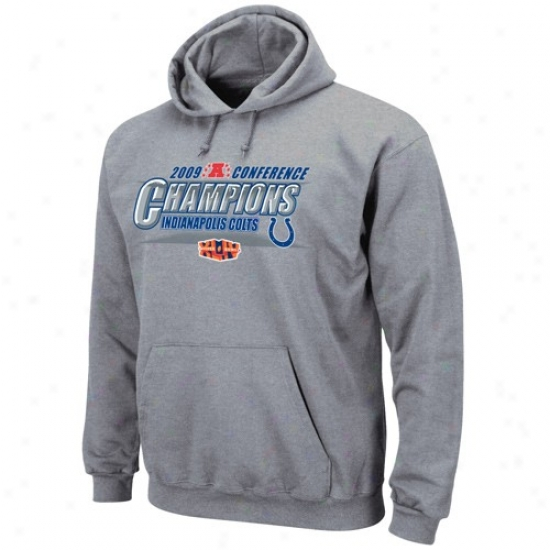 Indianapolis Colt Sweatshirt : Indianapolid Colt Ash 20O9 Afc Champions Conference Strength Sweatshirt