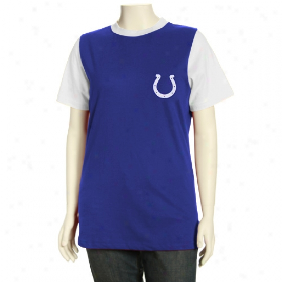 Indianapolis Colt T-shirt : Indianapolis Colt Missy Royal Blue Her Club Premium Ringeer T-shirt
