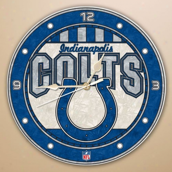 Indianapolis Colts Art-glass Wall Clock
