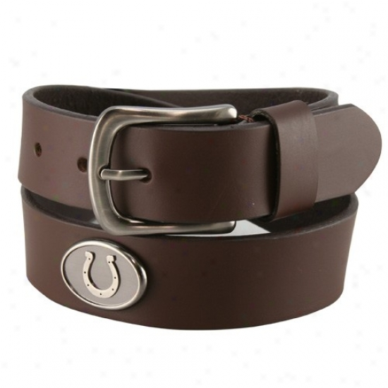 Indianqpolis Colts Brown Leather Concho Belt