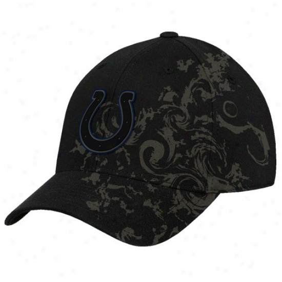 Indianapolis Colts Cap : Reebok Indianapolis Colts Black Tattoo Swirl Structured Flex Fit Cap