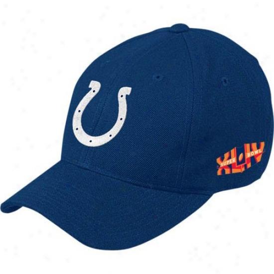 Indianapolis Colts Cap : Reebok nIdianapolis Colts Royal Blue Super Bosl Xliv Limit Basic Logo Wool Adjustable Cap