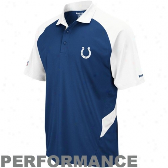 Indianapolis Colts Clothes: Reebok Indianapolis Colts Navy Blue-white Sideline Statement Performance Polo