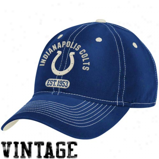 Indianapolis Colts Hat : Reebok Induanapolis Colts Royal Blue Retro Sloucj Adjustable Hat