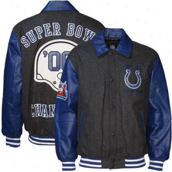 Indianapolis Colts Jackets : Indianapolis Colts Charcoal Wool/leather Super Bowl Champions Commemorative Jackets