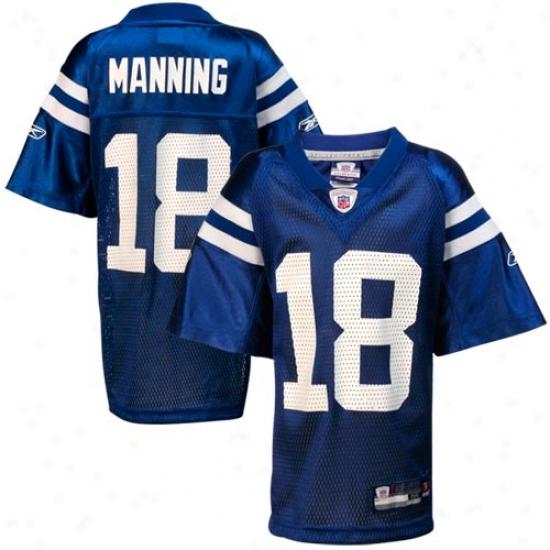 Indianapolis Colts Jerseys : Reebok Nfl Esuipment Indianapolis Colts #18 Peyton Manning Royal Blue Preschool Replica Football Jerseys