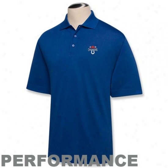 Indianapolis Colts Polo : Cutter & Buck Indianapolis Colts Royal Ble 2009 AfcC hampions Drytec Championship Action Polo