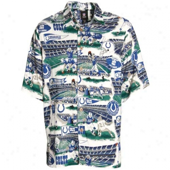 Indianapolis Clots Polos : Reyn Spooner Indianapolis Colts White Scenic Prin tHawaiian Button-up Shirt