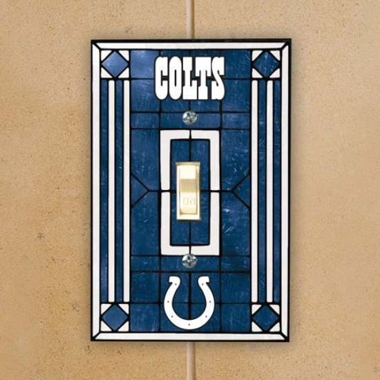 Indianapolis Colts Royal Blue Art-glass Switch Plate Cover