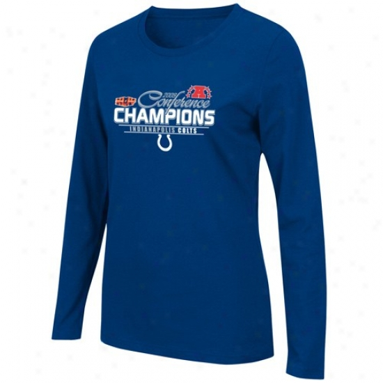 Indianapolis Colts Shirts : Indianapolis Colts Ladies Royal Blue 2009 Afc Champions Conference Push Long Sleeve Shirts