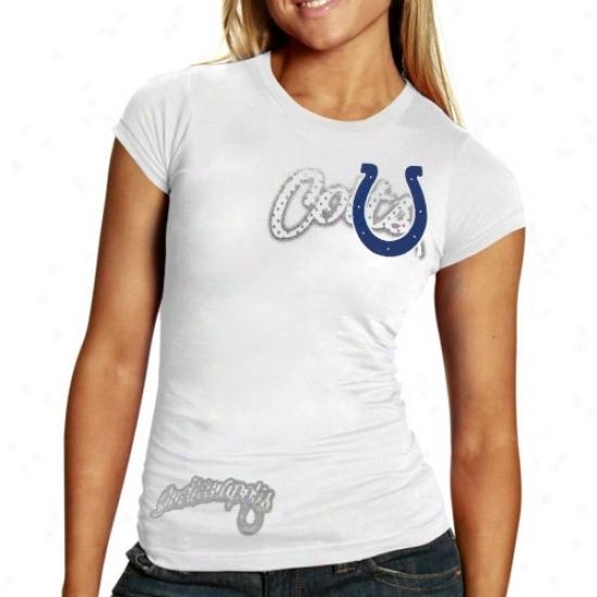 Indianapolis Colts T-shirt : Reebok Indiaanapolis Colts Ladies White Polka Baby Doll Premium T-shirt