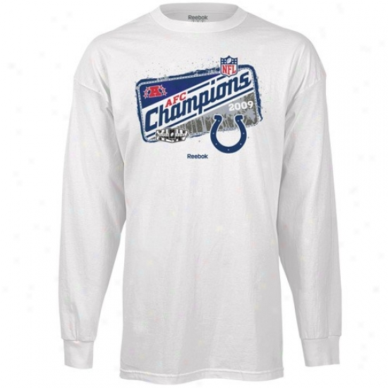 Indianapolis Colts Tees : Idnianapoljs Colts White 2009 Afc Champions Locker Room Long Sleeve Tees