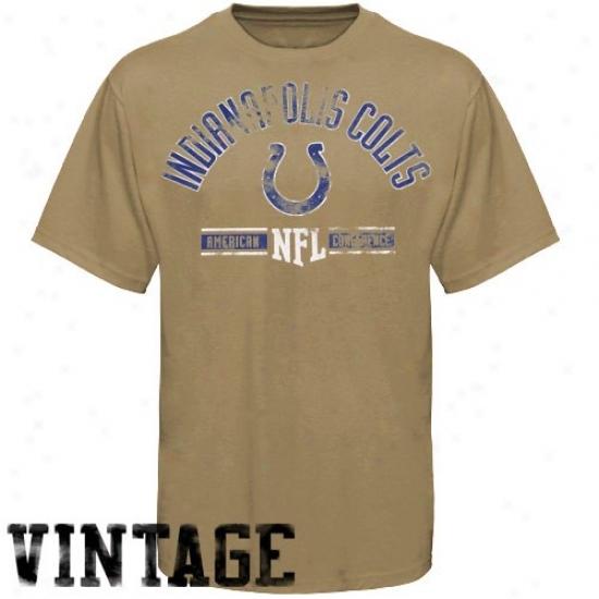 Indianapolis Colts Tshirt : Indianapolis Colts Tan Vintage Stadium Weae Tshirt