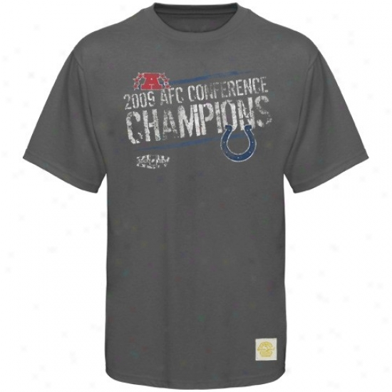 Indianapolis Colts Tshirts : Reebok Indianapolis Colts Gray 2009 Afc Champions Exit Strategy Super-soft Tshirts