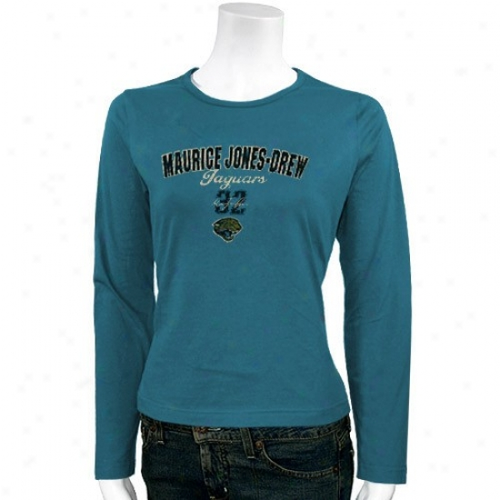 Jacksonville Jags Attire: Jacksonville Jags #32 Maurice Jones-drew Ladies Teal Pure Excitement Long Sleeve T-shirt