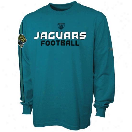Jacksonville Jags Attire: Reebok Jacksonville Jags Youth Teal Orbital Long Sleeve T-shirt