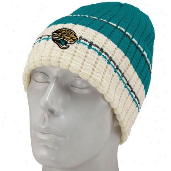 Jacksonville Jags Cap : Reebok Jacksonville Jags Teal Team Stripe Knit Beanie
