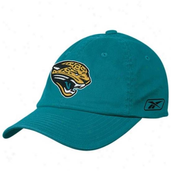 Jacksonville Jags Cap : Reebok Jcaksonville Jags Teal Basic Logo Flex Slouch Cap