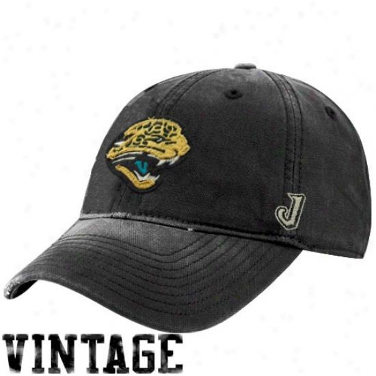 Jacksonville Jags Gear: Reebok Jacksonville Jags Black Distressed Slouch Hat