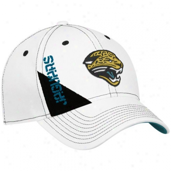 Jacksonville Jags Hat : Reebok Jacksonville Jags Youth White Official 2010 Make an outline of Day Flex Fit Hat