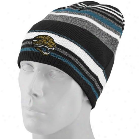 Jackosnville Jags Hats : Reebok Jacksonville Jags Gray-striped Cuffless Reversible Beanie