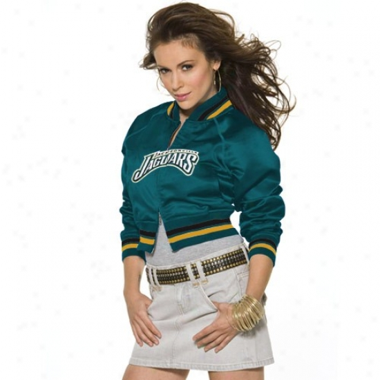 Jacksomville Jags Jacket : Touch By Alsysa Milano Jacksonville Jagd Ladies Teal Classic Satin Full Zip Cropped Jscket