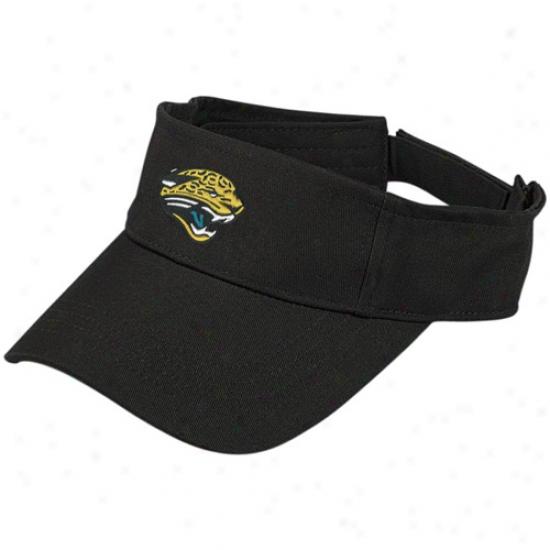 Jackdonville Jags Merchandise: Reebok Jacksonville Jags Black Basic Logo Visor