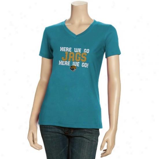 Jacksonville Jags Shirts : Reebok Jacksonville Jags Ladies Teal Her Cheer V-neck Sihrts