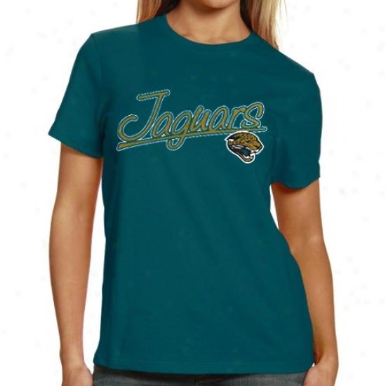 Jacksonville Jags T Snirt : Jacksonville Jags Ladies Teal Legacy Franchise Fit T Shirt