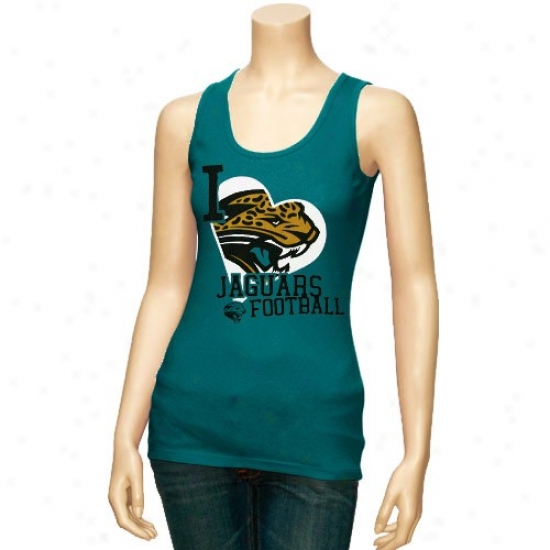 Jacksonville Jags T-shirt : Reebok Jacksonville Jags Ladies Teal Scrapbook Love Tank Top