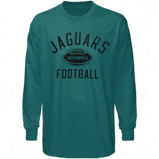 Jacksonville Jags T-shirt : Reebok Jzcksonville Jags Teal Work Out Long Sleeve T-shirt