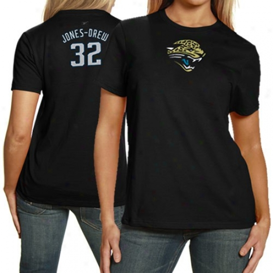 Jacksonville Jag sTees : Reebok Jacksonville Jags #32 Maurice Jones-drew Ladies Black Net Actor Premium Tees