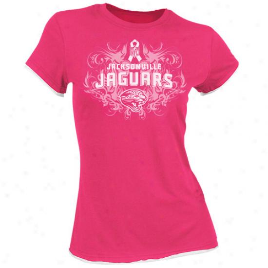 Jacksonville Jags Tshirt : Reebok Jacksonville Jags Ladies Pink Breast Cancer Awareness Floutish Tissue Premium Tshirt