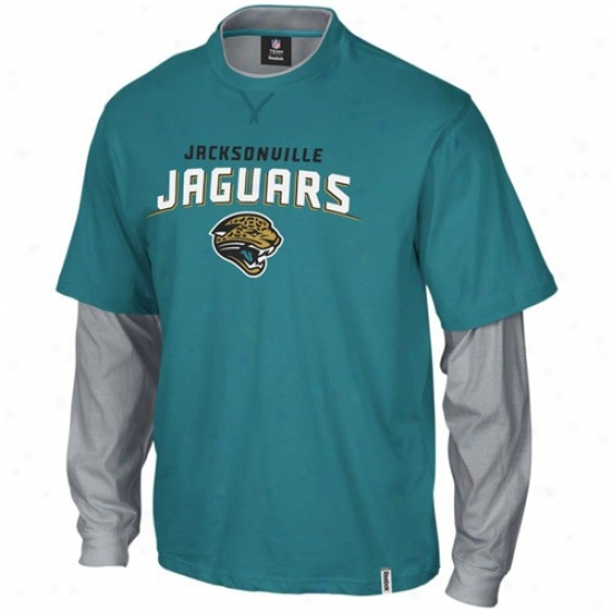 Jacksonville Jags Tshirts : Reebok Jacksonville Jags Youth Teal-gray Splittsr Double Layer Vintage Tshirts