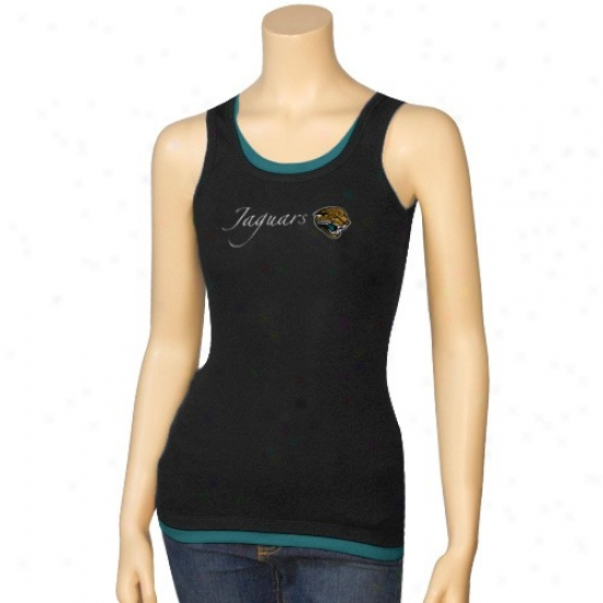 Jacksonville Jags Tshirts : Reebok Jacksonville Jags Ladies Black Roll Call Layered Tank Top