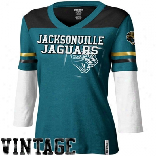 Jacksonville Jaguar Apparel: Reebok Jacksonville Jaguar Ladies Teal Statement Double Layer 3/4 Length Sleeve Premium T-shirt