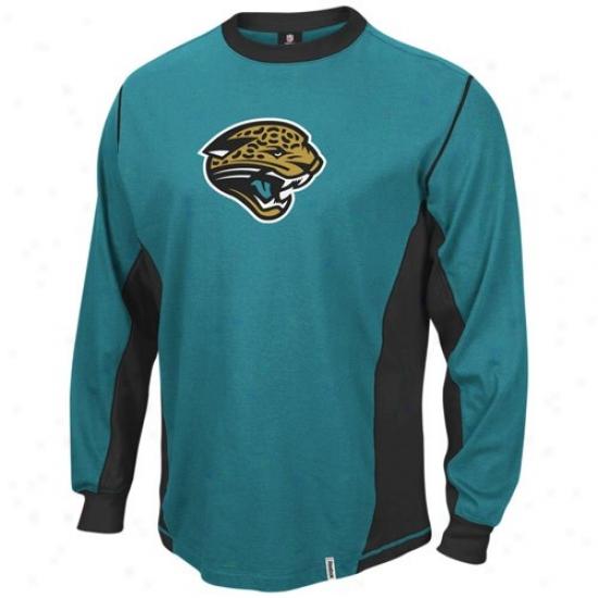 Jacksonville Jaguar Apparel: Reebok Jacksonville Jaguar Teal Downforce Constructed Long Sleeve Premium T-shirt