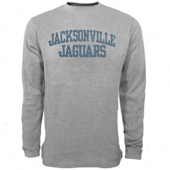 Jacksonville Jaguar Apparel: Reebok Jacksonville Jaguar Ash Yourh Thermal Long Sleeve Top