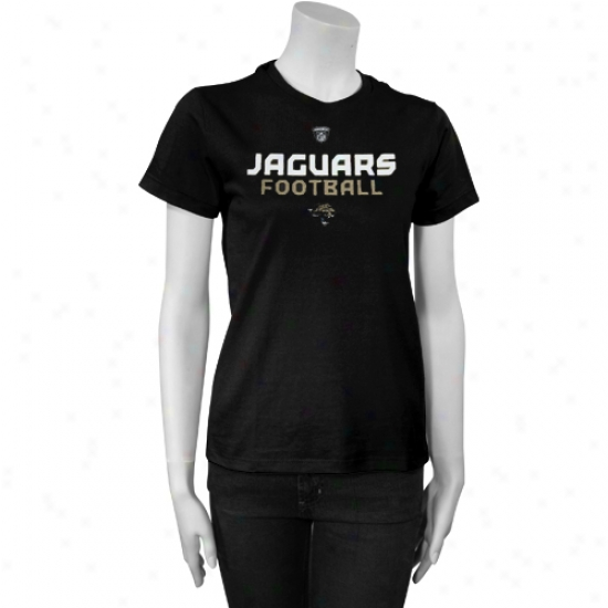 Jacksonville Jaguar Attire: Reebok Jacksonville Jaguar Ladies Black Gemini Too T-shirt