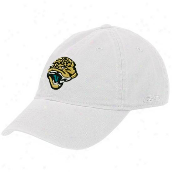 Jacksonville Jaguar Hats : Reebok Jacksonville Jaguar Ladies White Basic Logo Slouch Hats